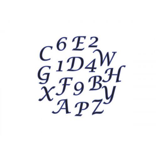 Fmm Utstickare Bokstäver och Siffror skrivstil, stora