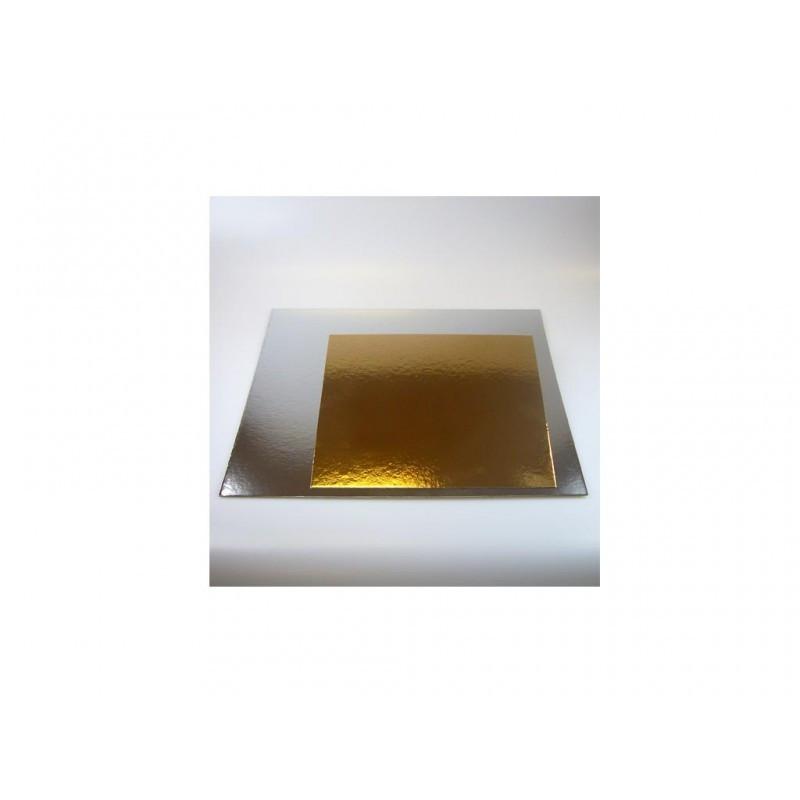 Tårtbricka guld och silver, kvadratisk 25 cm