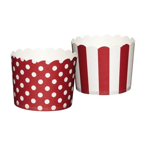 Muffinsform Polkadot/Stripe, röd - Kitchen Craft