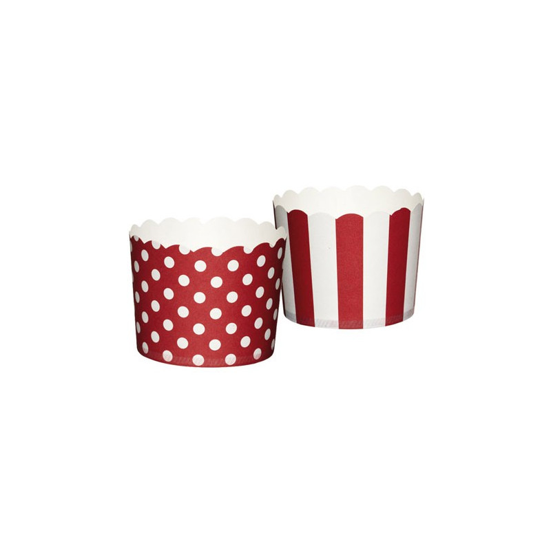 Muffinsform Polkadot/Stripe, röd - Kitchen Craft