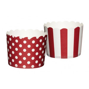 Kitchen Craft Muffinsform Polkadot/Stripe, röd