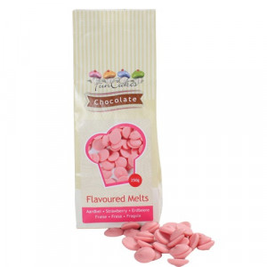 FunCakes Chocolate Melts, rosa, jordgubbssmak, 250 g