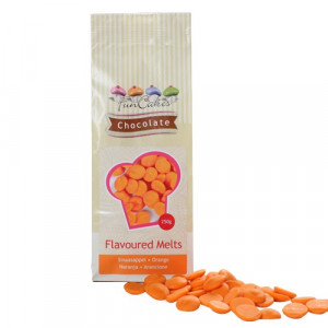 FunCakes Chocolate Melts, orange, apelsinsmak, 250 g