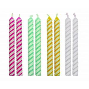 PME Tårtljus, randiga, 4 färger