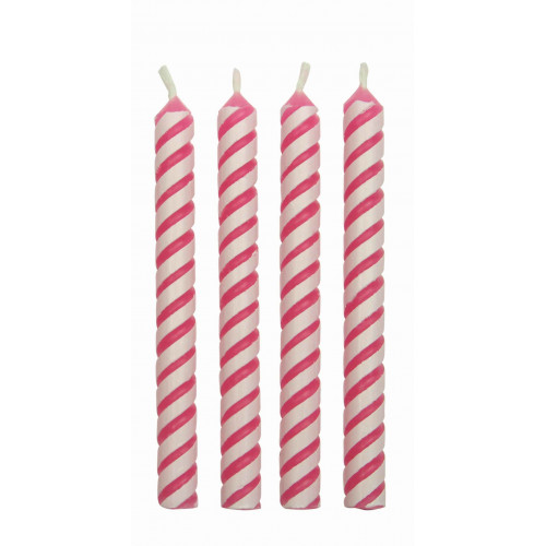 PME Tårtljus, randiga, rosa