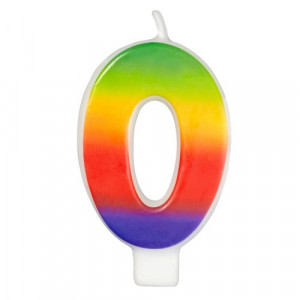 Wilton Tårtljus, sifferljus, 0, Rainbow