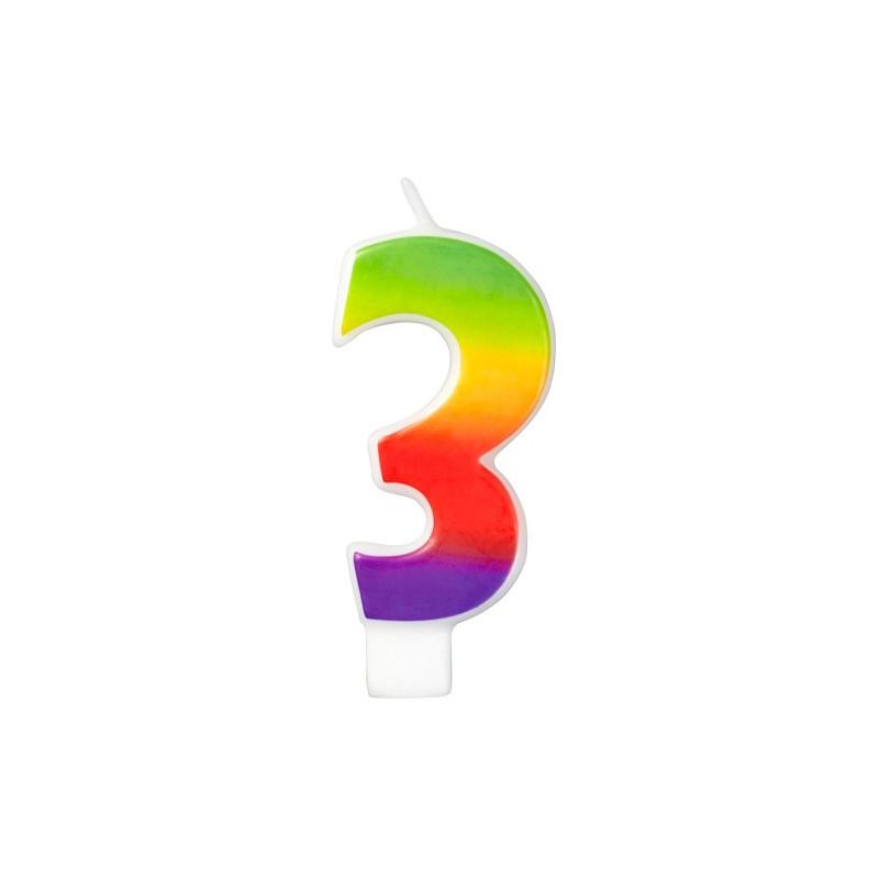 Wilton Tårtljus, sifferljus, 3, Rainbow