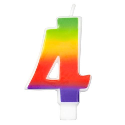Wilton Tårtljus, sifferljus, 4, Rainbow