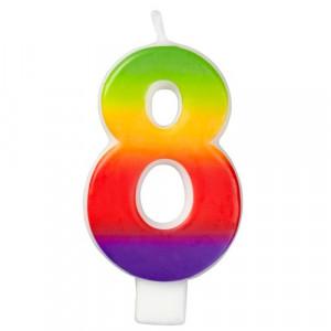 Wilton Tårtljus, sifferljus, 8, Rainbow