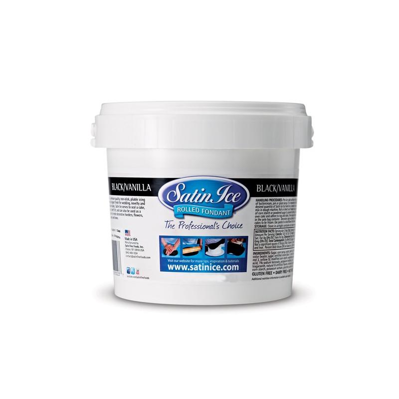 Satin Ice Sockerpasta, svart, vaniljsmak, 1 kg