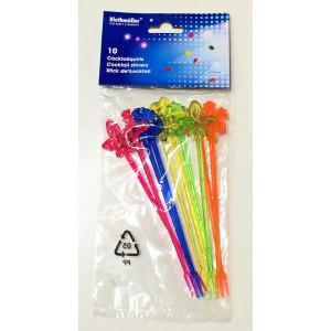 Drinkpinnar i plast, olika färger
