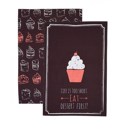 Kitchen Craft Kökshandduk Cupcake, 2-pack