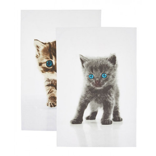 Kitchen Craft Kökshandduk Katter, 2-pack
