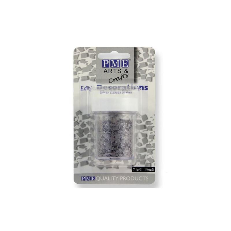 PME Ätbart Glitter, Flakes, silver