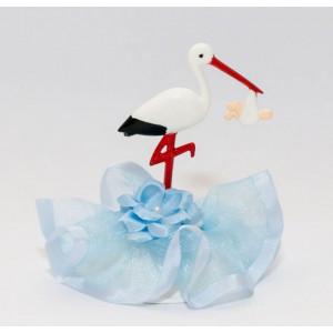 Tårtdekoration Stork, blå