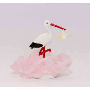 Tårtdekoration Stork, rosa