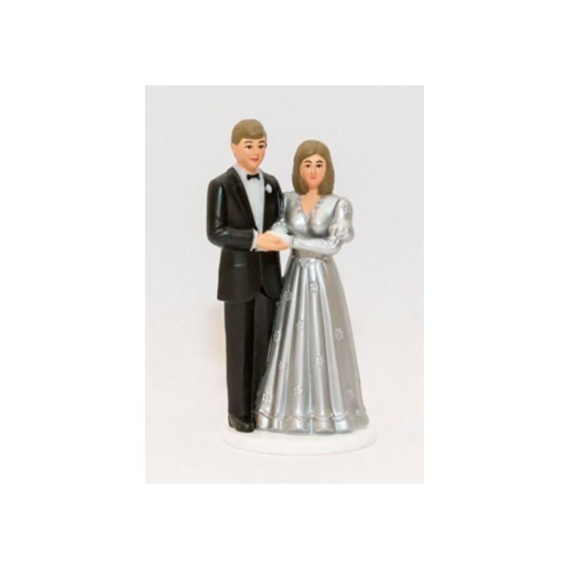 Tårtdekoration Brudpar Silverbröllop