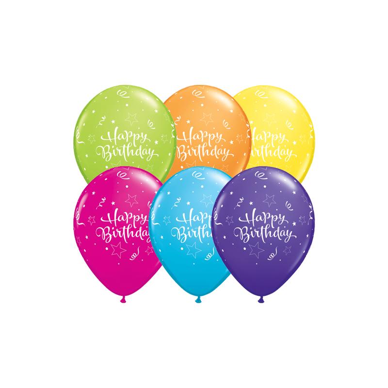 Qualatex Ballonger Happy Birthday, blandade färger