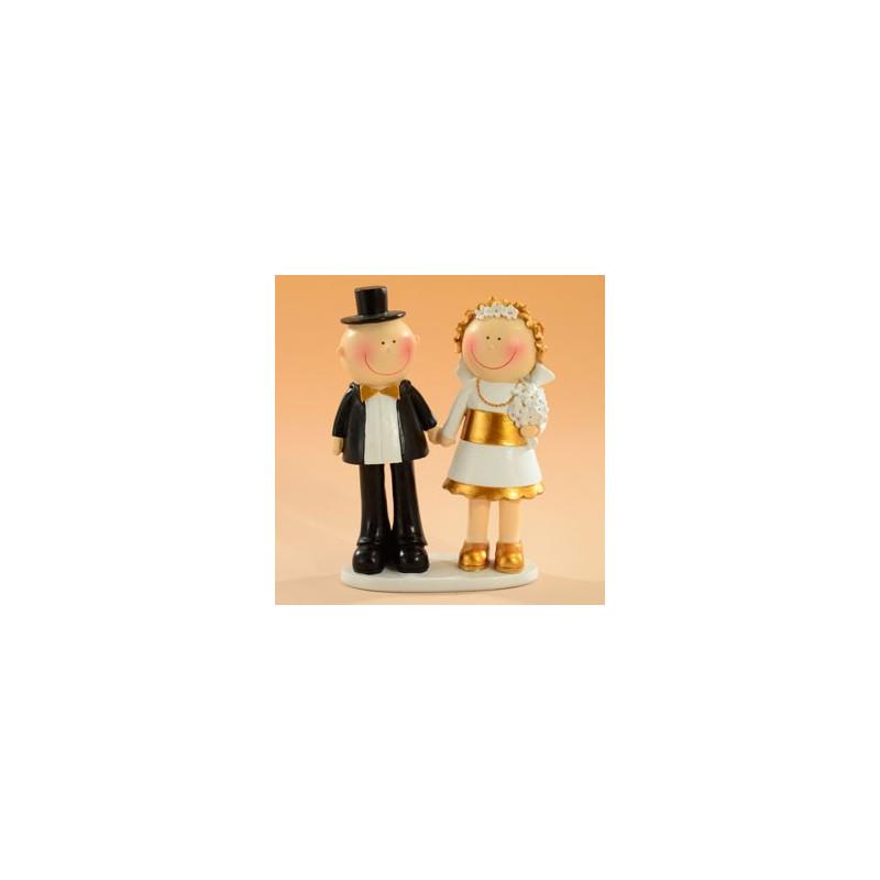 Tårtdekoration Brudpar Guldbröllop, 15 cm