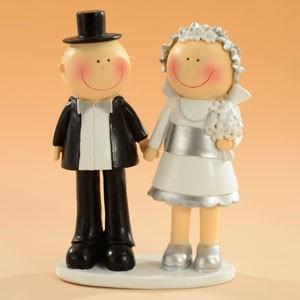 Tårtdekoration Brudpar Silverbröllop, 15 cm