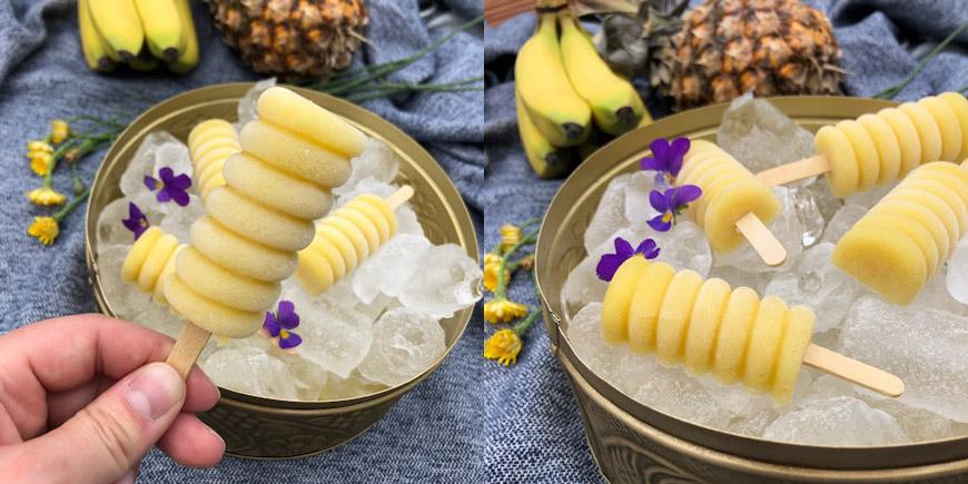 Smoothieglass på banan, ananas och mangojuice.