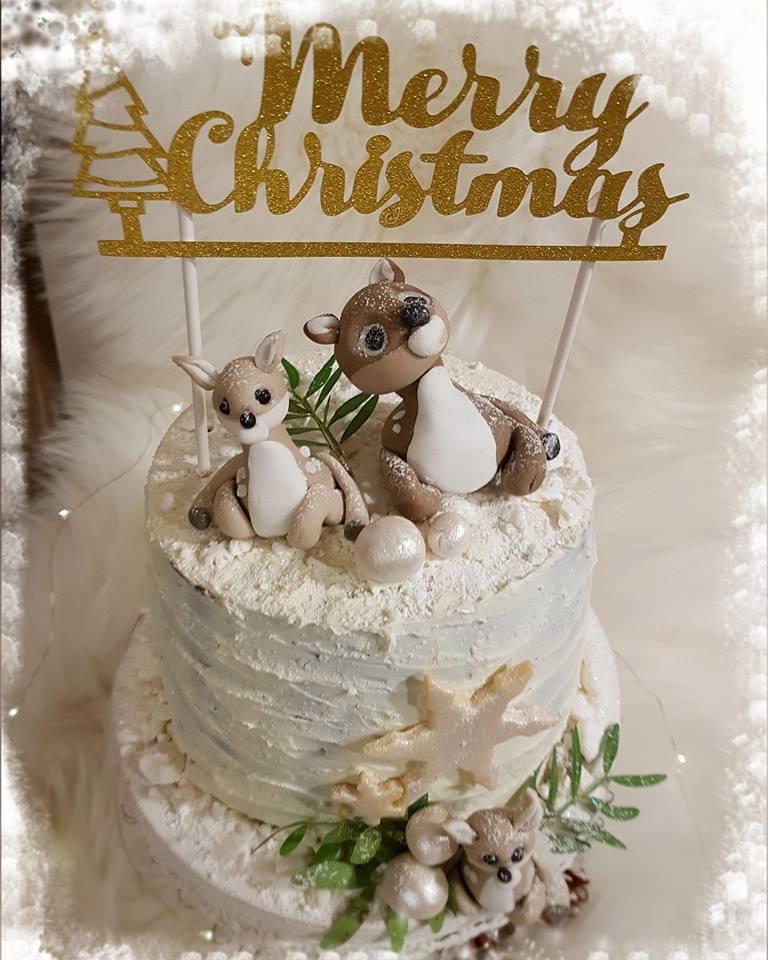 Vintrig tårta med renar insänd av Jessie Gunnarsson