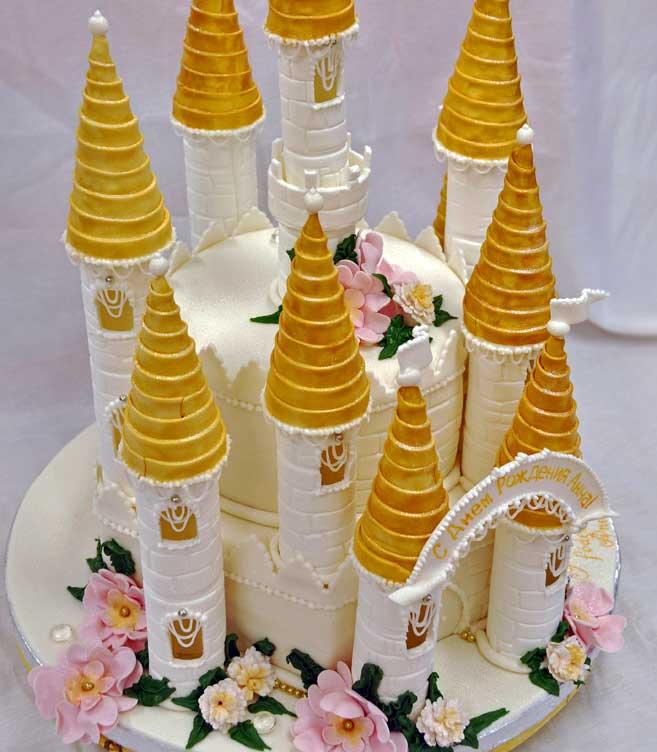 Rolig tårta med slott.